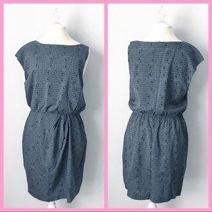 "THEORY   ""Brienne"" Gray Silk Asymmetrical Dress"